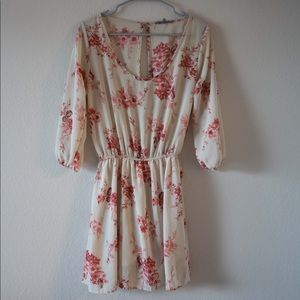 Red floral cream American eagle long sleeve dress